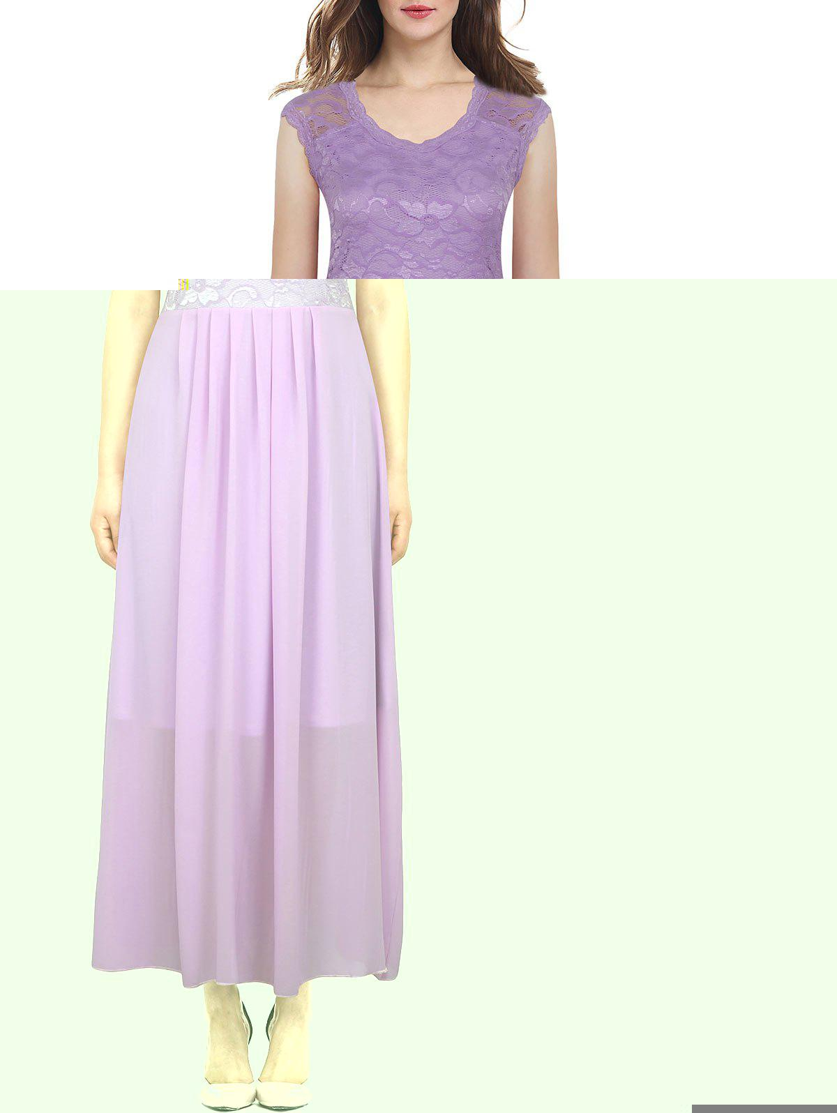 High Waisted Floral Lace Insert Dress - PURPLE L