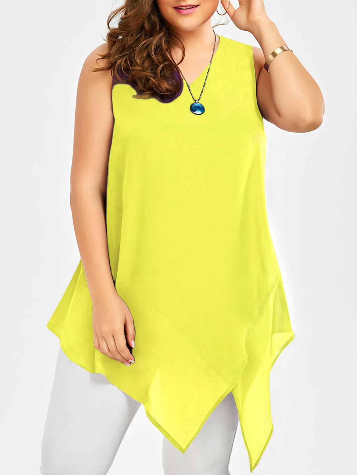 Plus Size Sleeveless Asymmetric Tank Top - YELLOW 2XL
