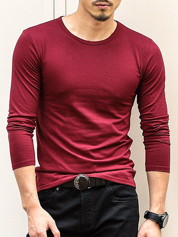 Round Neck Long Sleeve Plain T-Shirt - WINE RED XL