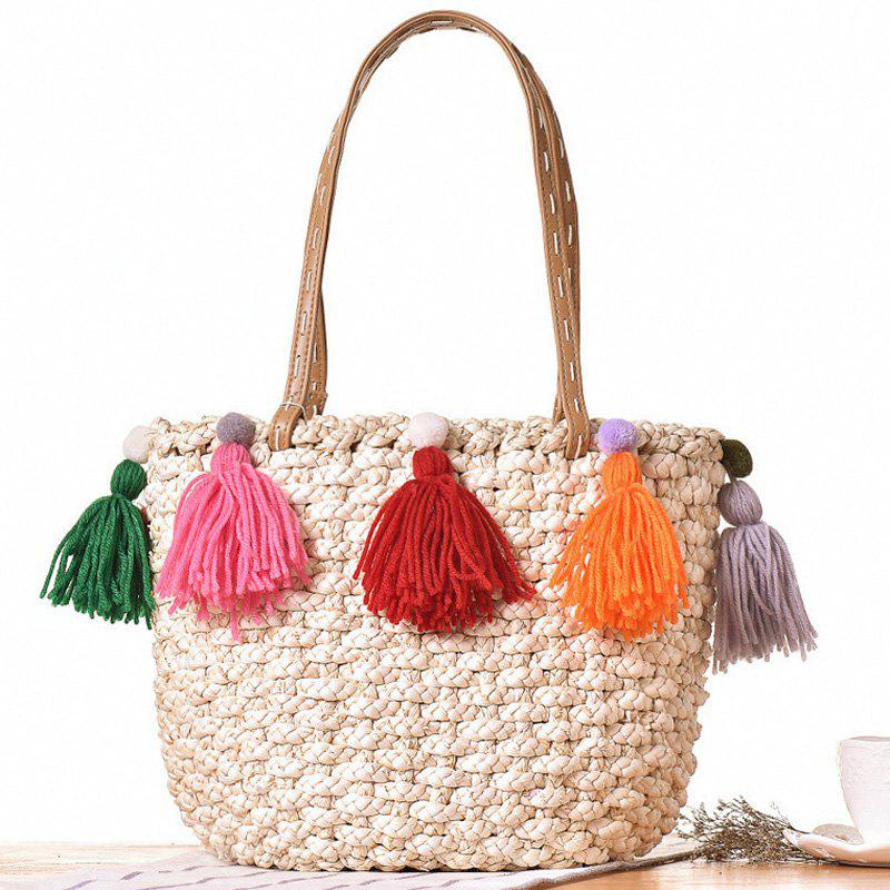 Straw Colored Tassels Tote Bag - OFF WHITE