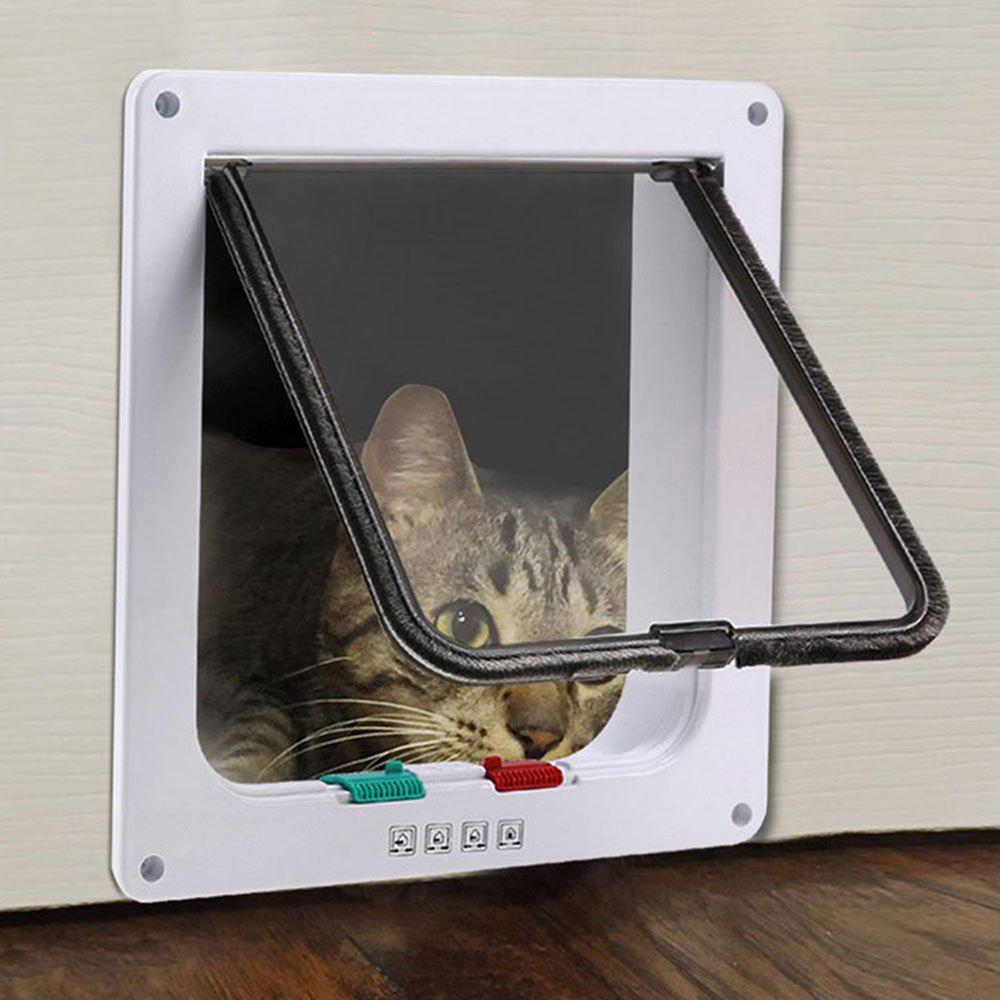 Pet Supplies Window Plastic Hole Dog Cat Door - WHITE L