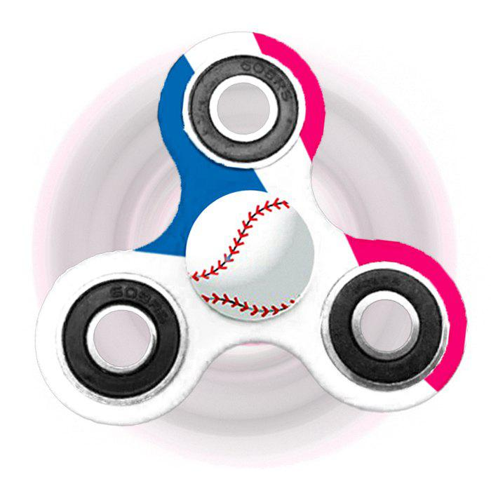 Baseball Patterned Tri-bar Plastic Fidget Spinner - WHITE