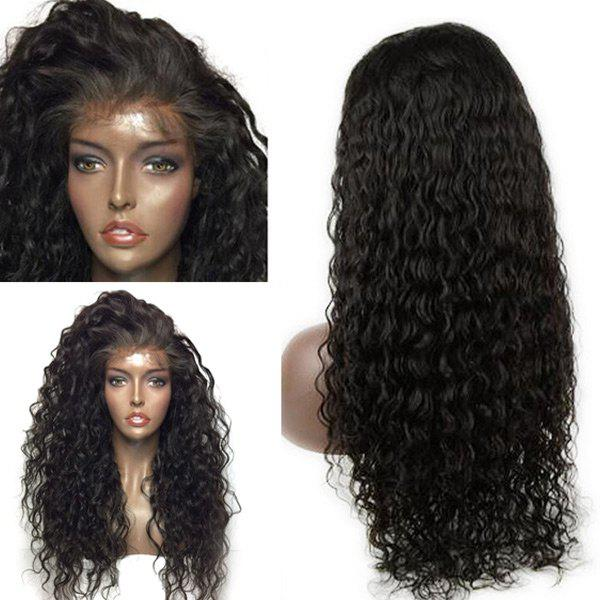 Dyed Perm Long Deep Side Parting Water Wave Lace Front Human Hair Wig - BLACK 20INCH