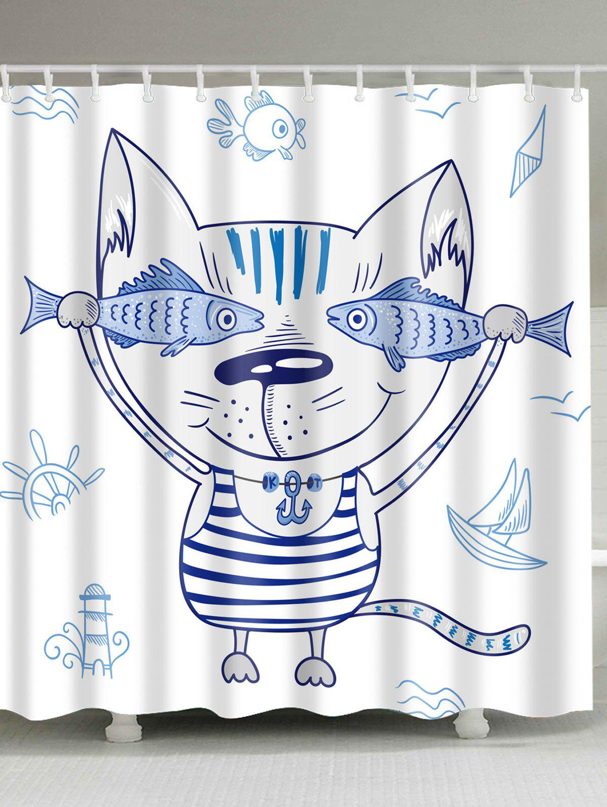 Cartoon Cat Animal Mouldproof Shower Curtain cartoon tree waterproof mouldproof shower curtain