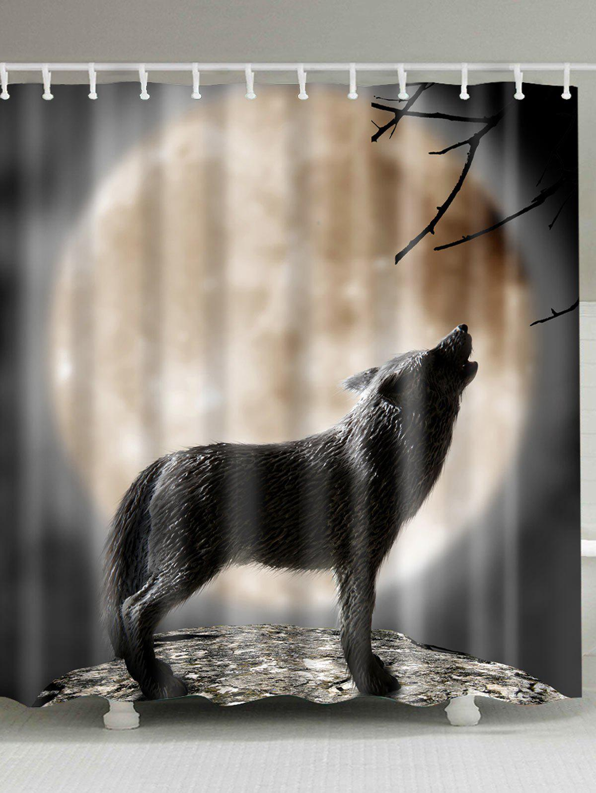 Wolf Moon Print Shower Curtain Bathroom Decor цена и фото