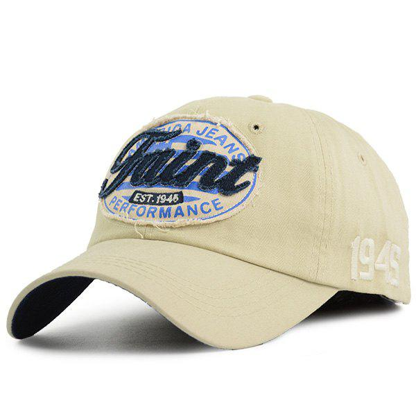 Number Embroidered Letters Patchwork Baseball Hat, Candy beige