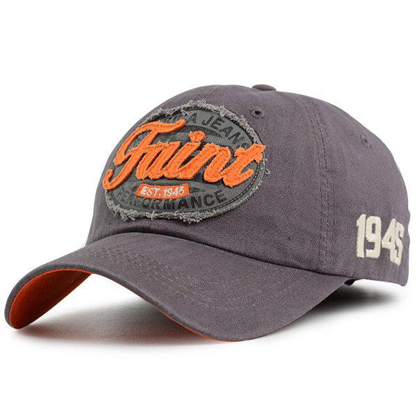 Number Embroidered Letters Patchwork Baseball Hat - GRAY ONE SIZE
