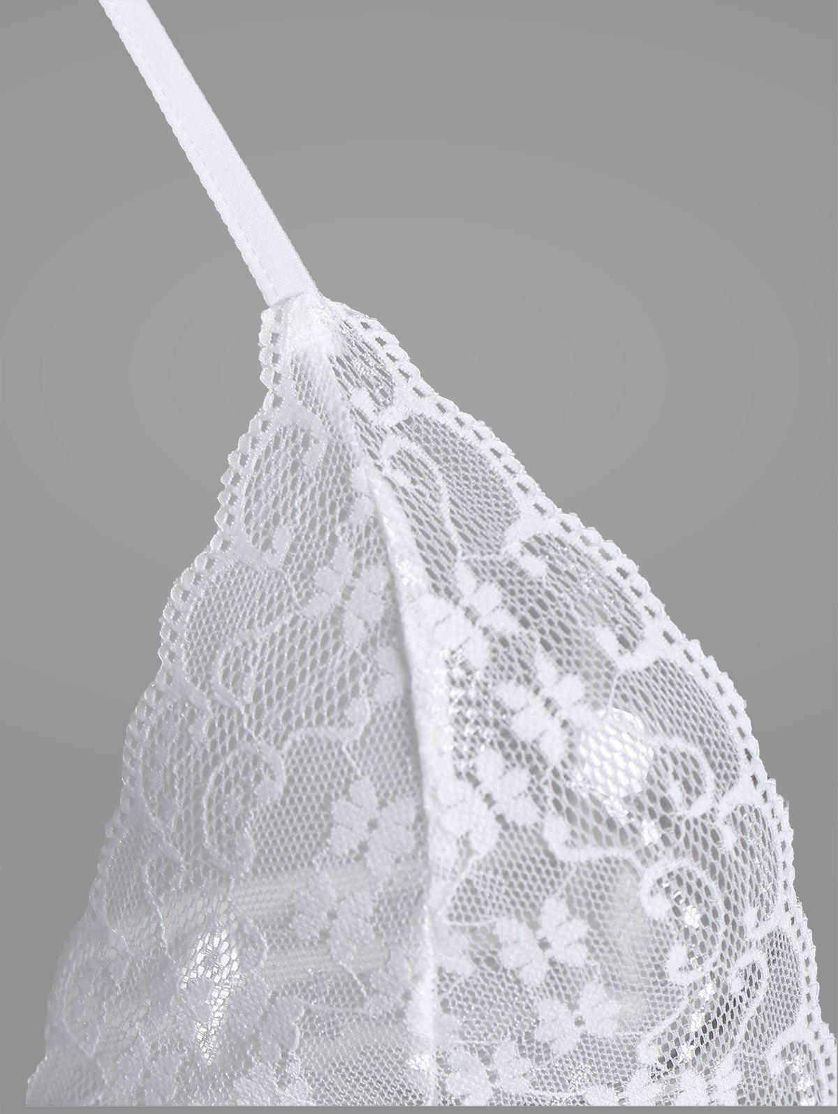 Lingerie Lace Sheer Strappy Teddy - WHITE ONE SIZE
