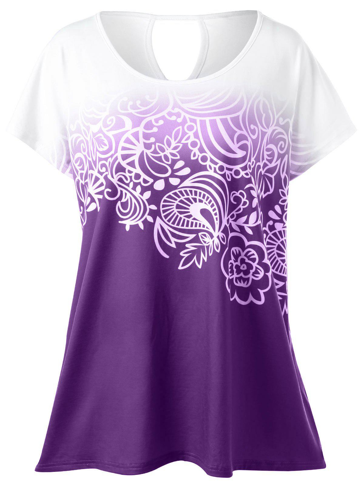 Plus Size Floral Ombre T-Shirt - PURPLE 5XL