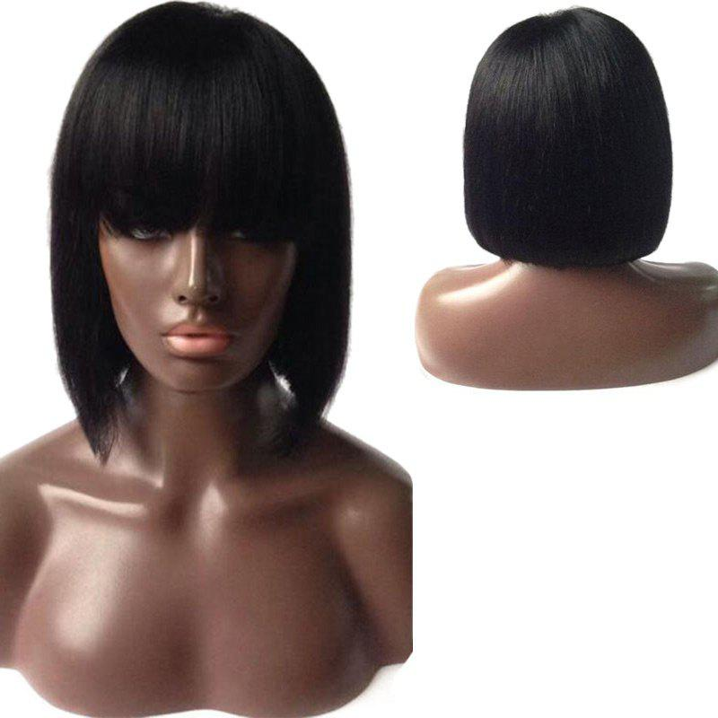 Dyed Perm Full Bang Straight Short Bob Lace Front Human Hair Wig 130% density unprocessed virgin brazilian full lace wig lace front wig straight glueless full lace human hair wigs