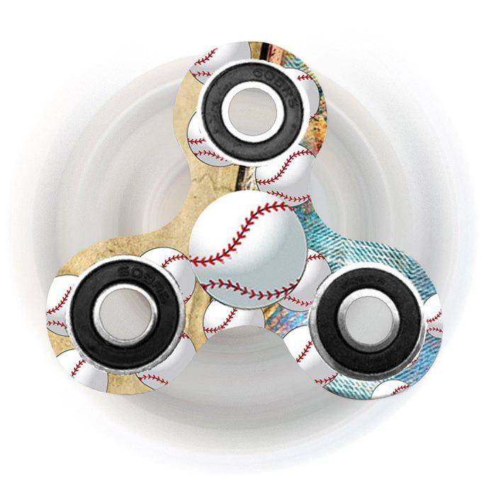 Baseball Patterned Tri-bar Plastic Fidget Spinner - EARTHY