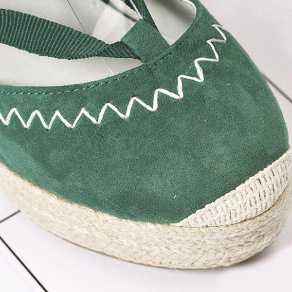 Lace Up Espadrille Wedge Shoes - GRASS GREEN 37