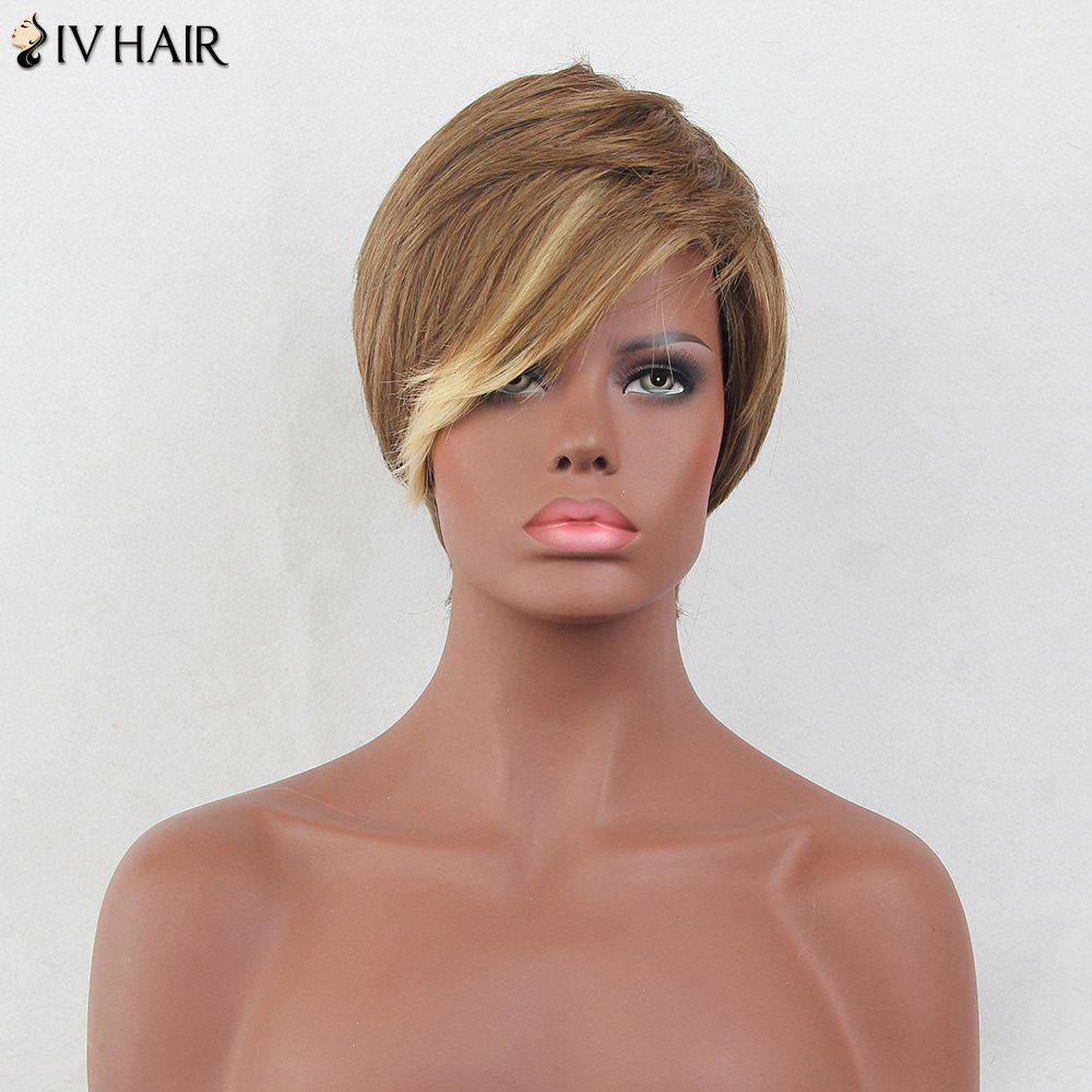 Siv Hair Colormix Oblique Bang Layered Short Straight Hair Hair Wig - multicolorcolore
