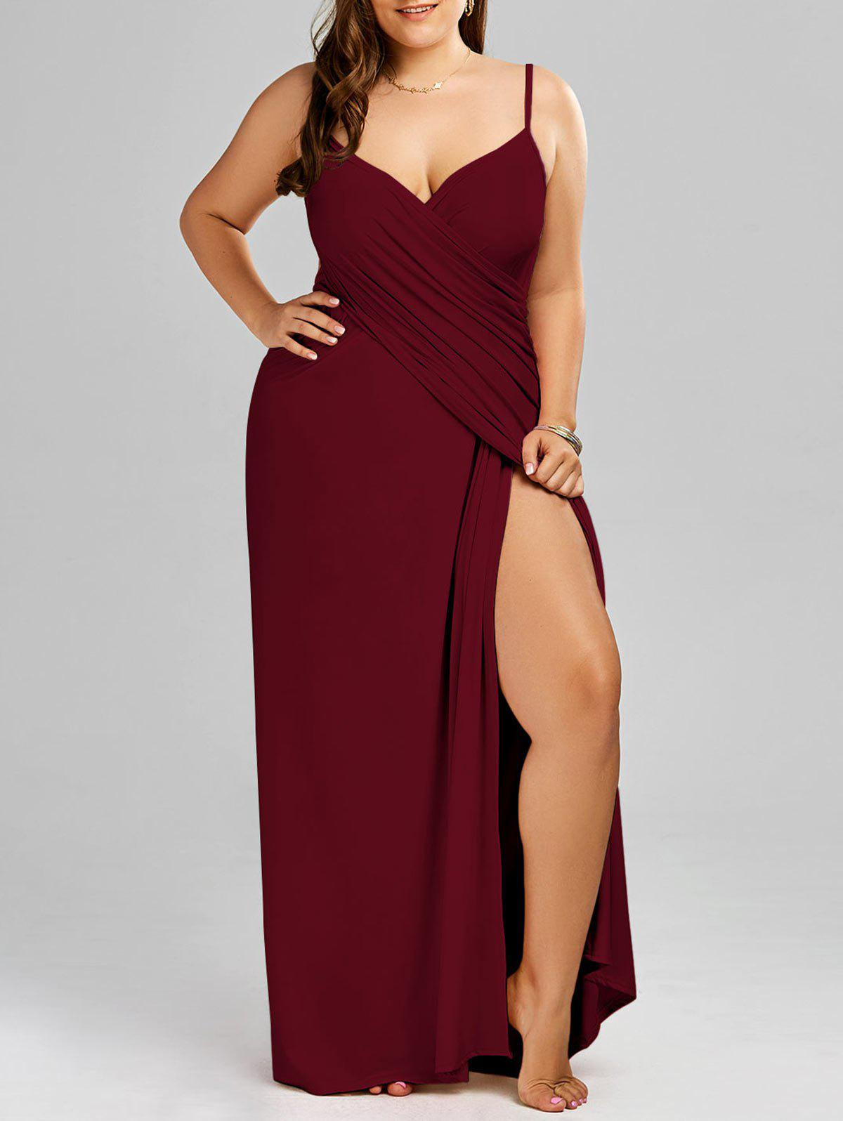 2018 Plus Size Maxi Flowy Beach Cover Up Wrap Dress Wine Red Xl In