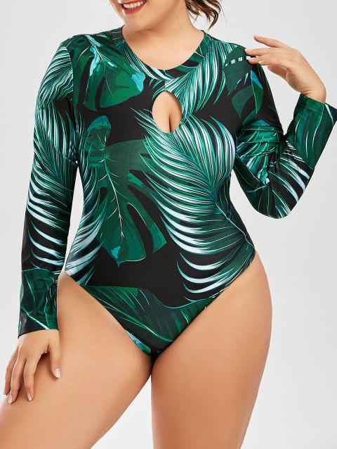 d94803723854f LIMITED OFFER  2019 Palm Leaf Print One Piece Plus Size Swimsuit In ...