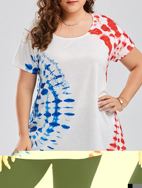 Plus Size Graphic Tie Dye T-shirt - WHITE 3XL