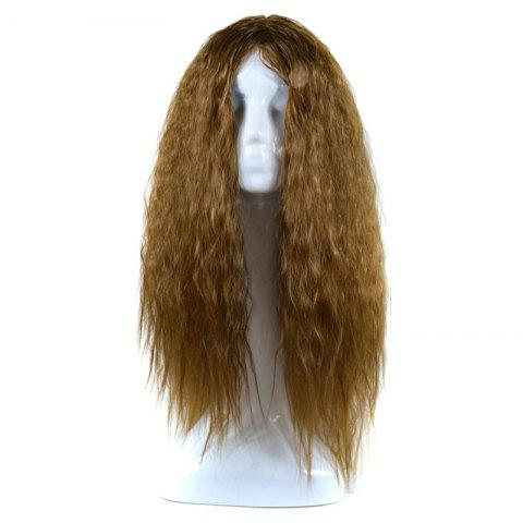 Lolita Middle Part Shaggy Long Curly Corn Hot Synthetic Wig - BROWN