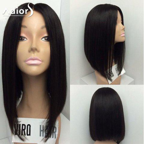 Adiors Medium Straight Bob Center Part Synthetic Wig - BLACK 14INCH