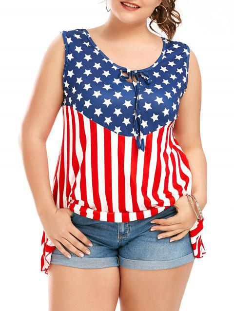 d9f8f797384 41% OFF  2019 American Flag Patriotic Sleeveless Plus Size T-Shirt ...