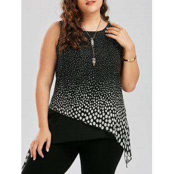 Plus Size Polka Dot Overlap Tank Top
