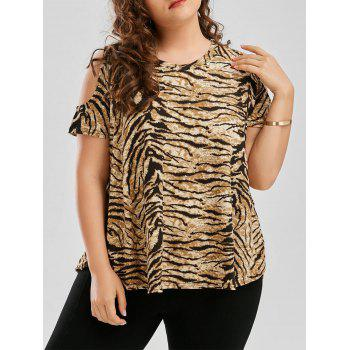 Plus Size Tiger Printed Cold Shoulder T-Shirt