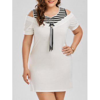 Plus Size Stripe Cold Shoulder T-shirt Dress