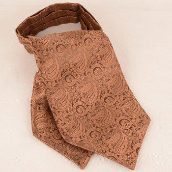 Paisley Jacquard Ascot Tie Bowtie and Handkerchief -  COFFEE