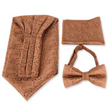 Paisley Jacquard Ascot Tie Bowtie and Handkerchief - COFFEE COFFEE