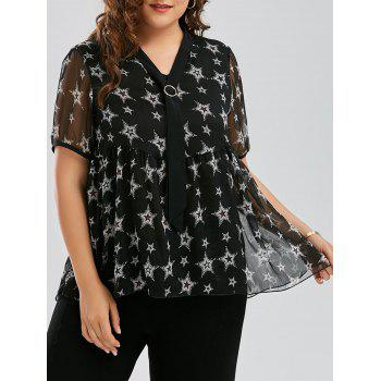 Plus Size Star Printed Chiffon Pussy Bow Swing Blouse