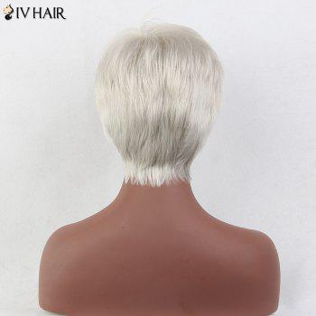 Siv Hair Short Incliné Bang Straight Pixie Perruque de cheveux humains - Blanc