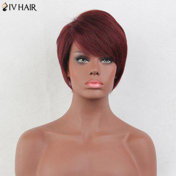 Siv Hair Short Side Bang Layered Straight Real Hair Wig