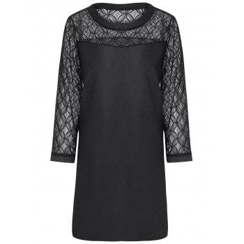 Plus Size Mini Lace Sleeve Fitted  Dress