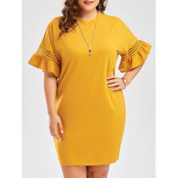 Plus Size Flare Sleeve Cutout Cocoon Tee Dress