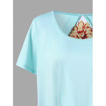 Plus Size Lace Trim Floral High Low T-shirt - PINKISH BLUE XL