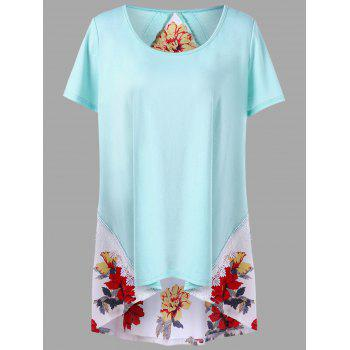 Plus Size Lace Trim Floral High Low T-shirt - PINKISH BLUE 3XL