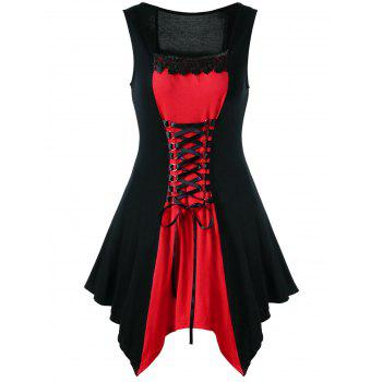 Red dress with black lace trim