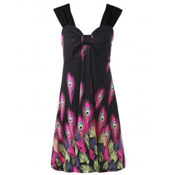 Plus Size Feather Printed Mini Sundress