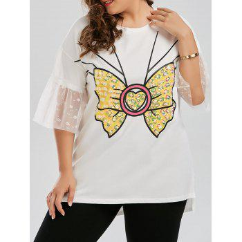 Plus Size Sequined Bowknot Bell Sleeve Long Preppy T-shirt