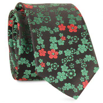 Jacquard Tiny Flowers Neck Tie - GREEN GREEN