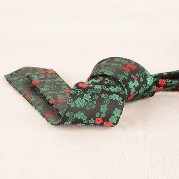 Jacquard Tiny Flowers Neck Tie -  GREEN