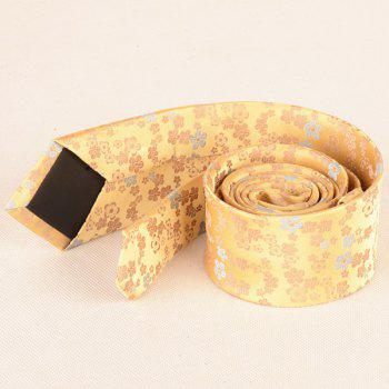 Jacquard Tiny Flowers Neck Tie - Jaune