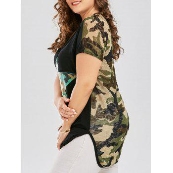 Plus Size Semi Sheer Camouflage Long T-shirt