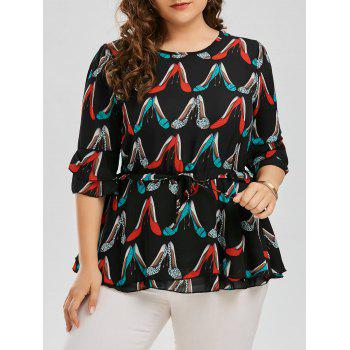 High Heels Print Plus Size Chiffon Blouse
