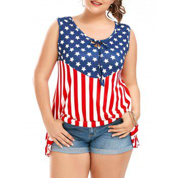 American Flag Patriotic Sleeveless Plus Size T-Shirt