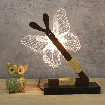 3D Stereoscopic Butterfly LED Desk Lamp - WHITE EU PLUG