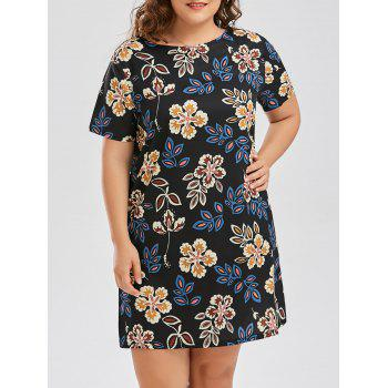 Floral Print Plus Size T Shirt Dress