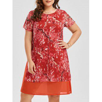 Shift Plus Size Floral Print Chiffon Dress