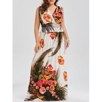 Plus Size Printed Low Cut Maxi Beach Dress