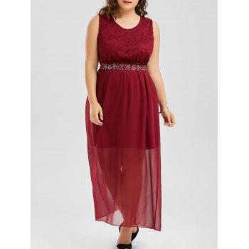 Plus Size Chiffon Maxi Flowy Evening Dress with Belt