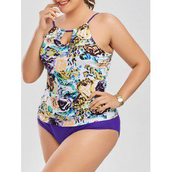 High Neck Floral Plus Size Tankini Set